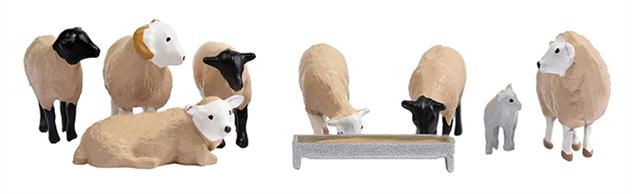 Bachmann OO Sheep Pack 36-083Bachmann Branchline OO Scenecraft 36-083 Sheep Pack of seven ready painted sheep toether with one lamb and a feeding trough.