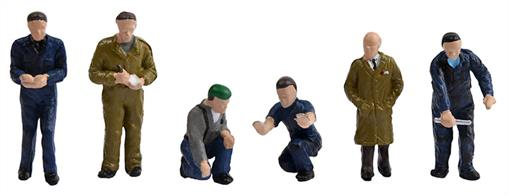 Bachmann OO Factory Workers and Foreman Pack 36-403Bachmann Branchline OO Gauge Scenecraft 36-403 Factory Workers and ForemanPack of 6 factory worker figures waering overals in various poses, plus one foreman/factory manager figure in warehouse coat.