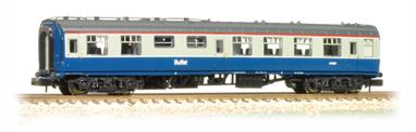 An excellent N gauge mdel of the minature buffet coach, a common design providing refreshment services on many secondary and cross-country trains. The neatly detailed Graham Farish model includes interior seating with tables.