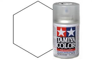 Tamiya TS80 Flat Clear Synthetic Lacquer Spray Paint 100ml TS-80These cans of spray paint are extremely useful for painting large surfaces, the paint is a synthetic lacquer that cures in a short period of time. Each can contains 100ml of paint, which is enough to fully cover 2 or 3, 1/24 scale sized car bodies.