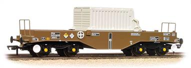 A detailed model of the FNA smooth sided nuclear flask carrier wagon with hood cover in place. This early build wagon has flat floors on the ends and round head buffers.