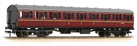 Starting in 1951 British Railways produced a range coaches to a new standard design, utlising a modular system of construction to control the costs. The range included non-corridor suburban type coaches with a large number of side doors to permit rapid boarding and detraining, as required for the intensive suburban services around Britains largest cities.Bachmanns' models reproduce the detail of these coaches, with a range of types being available to form a prototypical train This model is the composite coach with compartments for first and second class passengers. These coaches were often formed into short branch trains along with a brake second so that a small number of first class compartments were available.Era 5 1957-1966