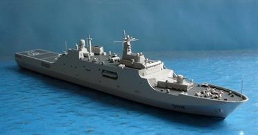 A 1/1250 scale metal, fully assembled and painted waterline model of Kunlun Shan, one of the Wudeng class (class 071) dock landing ships of the PLAN of China.