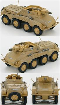 Hobby Master Sd. Kfz. 234/3 116th Panzer Division Normandy, Autumn 1944<p>1/72 Scale</p><p>During WWII the German Army used Schwerer Panzerspahwagen (Heavy Armored Reconnaissance Vehicles) to scout ahead and determine the enemy strength and report back to the main units. In spite of its size and weight the Puma was very fast and equipped with a 5cm gun and a 7.92 mm MG. Two unique features of the Sd. Kfz. 234/2 was the ability of the radio operator to drive the vehicle in reverse during emergency situations and it was the only variant with a turret. Production ran from September 1943 to September 1944.</p><p>The Sd.Kfz.234/3 chassis saw little change from the Sd.KFZ.234/2 Puma. What was changed was that the superstructure and top armoured plate was removed. With the turret removed it was replaced by armour plates on all 4 sides. A new 7.5cm KwK51 L/24 short barreled main gun was installed in the open topped fighting compartment. 6 Sd.Kfz.234/3 vehicles made up a platoon of the Panzerspahwagen Company to support the SdKfz 234/1s.</p>