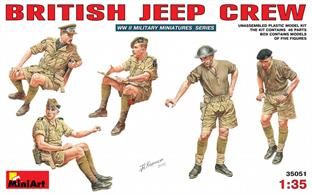 Mini Art 35051 1/35 Scale British Jeep Crew WW2Five figures can be assembled from this kit.Glue and paints are required