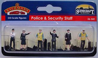 Bachmann OO Policemen and Traffic Wardens Pack of 6 Figures 36-041Pack of six ready painted uniformed British police officers and traffic warden figures.