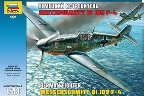 Zvezda 4806 1/48th German Messerschmitt bf109F-4 WW2 Fighter Aircraft KitNumber of Parts 210  Length 217mm