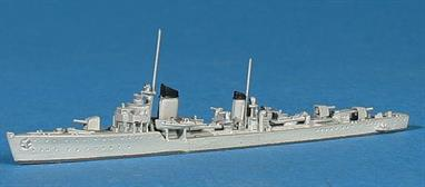 A 1/1250 scale metal model of a Rabautier class torpedo boat of 1938.
