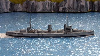 A 1/1250 scale second hand model of the Imperial Russian Navy battleship Gangut.