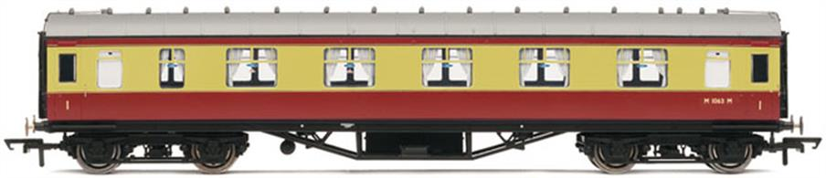 Hornbys' new LMS Stanier design first class corridor coach painted in the early BR crimson & cream livery.