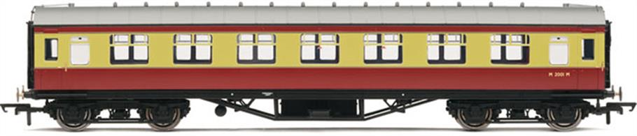 Hornbys' new LMS Stanier design second class corridor coach painted in the early BR crimson & cream livery.