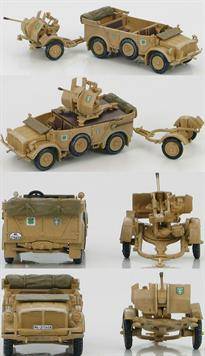 Hobby Master Horch 1a With 20mm Flack 38, D.A.K. 1941<p>1/72 Scale</p><p>Germany decided to create a new range of standardized chassis for their vehicles. In 1935 Auto Union/Horch Chassis I was produced for heavy passenger cars. The chassis allowed for either rear mounted or front mounted engines depending on the job. The original chassis that had front and rear wheel steering was designated 1A. From 1939ï to 40 a four-wheel drive variant was available and designated 1B. The Horch served throughout WWII on every front as a passenger car, a communications car, an ammo vehicle, an anti-aircraft gun plus more. </p>