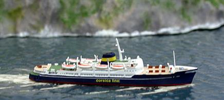 Corsica Express modelled in 1/1250 scale in a revised livery with the company name on the hull. This is a fully finished and painted metal collector's model of the Mediterranean ferry.