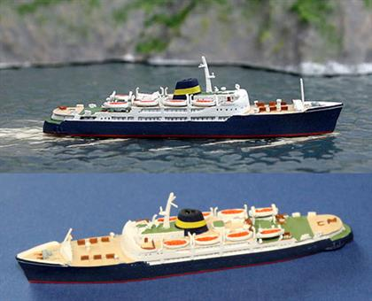 Corsica Express is a fast Mediterranean ferry designed and built in the 1960s to service the Island of Corsica. This is a fully finished and painted metal collector's model in 1/1250 scale with racy good looks typica of ships at that time.
