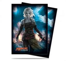80 sleeves with a picture of Nahiri, the Harbinger on the back.  Sized to fit MTG/Pokemon cards.