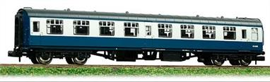This model of the second class open coach will be painted in the corporate blue and grey livery which lasted from the late 1960s until the early 1990s.Eras 6-7