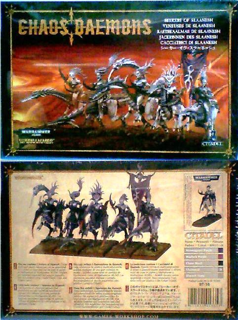 This box contains 5 Seekers of Slaanesh. These multi-part plastic miniatures can be assembled in a variety of ways and can be used in games of Warhammer or Warhammer 40k.  Models are supplied unpainted and require assembly.