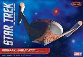 "Few Star Trek ships are as popular or mysterious as the infamous Romulan Bird-of-Prey. The villainous ship played a key roll in the STAR TREK: The Original Series episode ""Balance of Terror."" The ship's iconic design and blazing bird graphic have been painstakingly researched to deliver the utmost in authenticity in this snap-together model kit. The kit features all decals needed to decorate the ship accurately. It also includes a dome display base and pictorial assembly instructions.Glue and paints are required to assemble and complete the model (not included)."