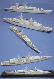 Straight forward kit of Royal Navy's HMS Cornwall with a one piece solid resin hull and superstructure and white metal detailing parts, plus etched brass handrails and aerials. Paint and glue is required to complete the kit.Decals for HMS Cornwall, pennant number F99 only are included. These are waterslide transfers and an acrylic varnish is recommended for protection purposes.