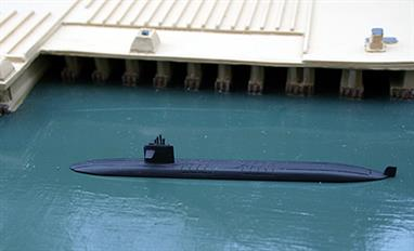 A 1/1250 scale metal waterline model of Le Triomphant, S616, a French SSBN from 1997. A nicely detailed model of the French independent nuclear deterrent.