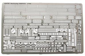 Revell 1/700 Photoetched Parts German WW2 Battleship Tirpitz 00708Photo etched detail set for the Revell Tirpitz kit. Includes railings, fine latice mast framework, crane and radar parts.