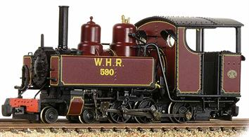 OO9 narrow gauge WW1 WD/ROD Baldwin 4-6-0T locomotives finished in lined maroon livery as ROD number 590, purchased by the Welsh Highland Railway.