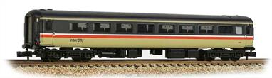 New and detailed models of the BR air conditioned express passenger stock built from the early 1970s. BR was one of the first European railways to offer air conditioned accomodation as standard on principal services.These models are of the Mk.2F coaches, the last of the Mk.2 series build (1973-1975) and almost identical to preceeding Mk.2E coaches (1972-73 build), the design changes relating primarily to the air conditioning plant. These two builds formed the backbone of the InterCity locomotive-hauled coach fleet during the 1970s and 80s.This model of the second class tourist open plan seating (2+2 with tables) coach is painted in the InterCity red stripe livery.Era 8 1982-1994.