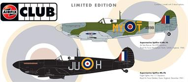 This Airfix A82015 club special contains one model with two decal options of an RAF SpitfireCommon Paints: 24, 33,56,62, 78, 85,A Version of the Kit Paints: 30, 53, 90, 106,165B Version of the Kit Paints: 71Paints for the Pilot are 26, 61 & 96