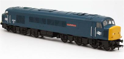 Wales and West Region Sales Area Limited Edition ModelDetailed model of BR class 45/0 (steam heating) locomotive 45040 finished in BR blue livery. These Derby type 4 locomotives operated the Cross Country and NE/SW services from the West Country to Birmingham and onward to Leeds and Newcastle in the 1970s and early 1980s.DCC and Sound Fitted.