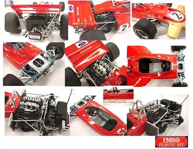 EBBRO E001 1/20 1970 Team Lotus Type 72c F1 CarSomething completely new from the Ebbro stable, Crafted by Tamiya's ex Chief Designer in 1/20 scale detail, Classic Formula One Plastic Kits.