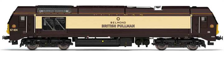 Model of DB Cargo UK locomotive 67024 Belmond British Pullman.This new model features see-through etched grilles, a highly detailed bodyshell, with matching levels of detail applied to the underframe and bogies, switchable LED directional lighting to replicate day and night lighting configurations and a heavy diecast chassis providing drive to all axles.DCC Ready. 8 pin decoder required for DCC operation.