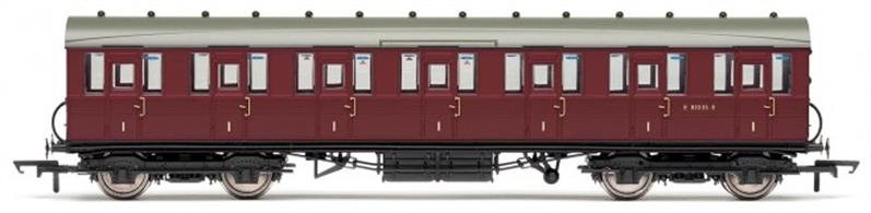 Hornby OO BR Gresley Suburban First Class Coach Crimson R4648BR Gresley Suburban 1st Class Coach - R4648These coaches were used on suburban passenger and many local passenger trains throughout the LNER network.This model is the first class compartment coach finished in British Railways crimson livery. Length: 217mmLivery: BRSpecial Features: Interior & exterior details.