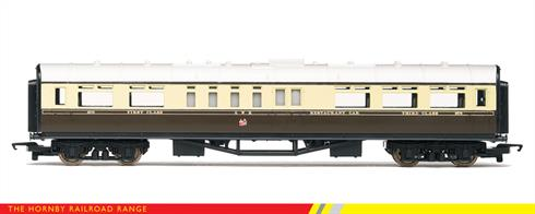 Hornby Railroad R4525 00 Gauge GWR Restaurant Coach Chocolate and Cream LiveryNow produced as part of the Hornby Railroad range these models of GWR Collett design 57ft restaurant car of the 1930s feature basic detailing on a generally accurate and nicely painted bodyshell in chocolate and cream livery.These coaches are ideal for making a Great Western train at a budget and for new modellers. The coaches are also a great basis for upgrading by superdetailing and redetailing.