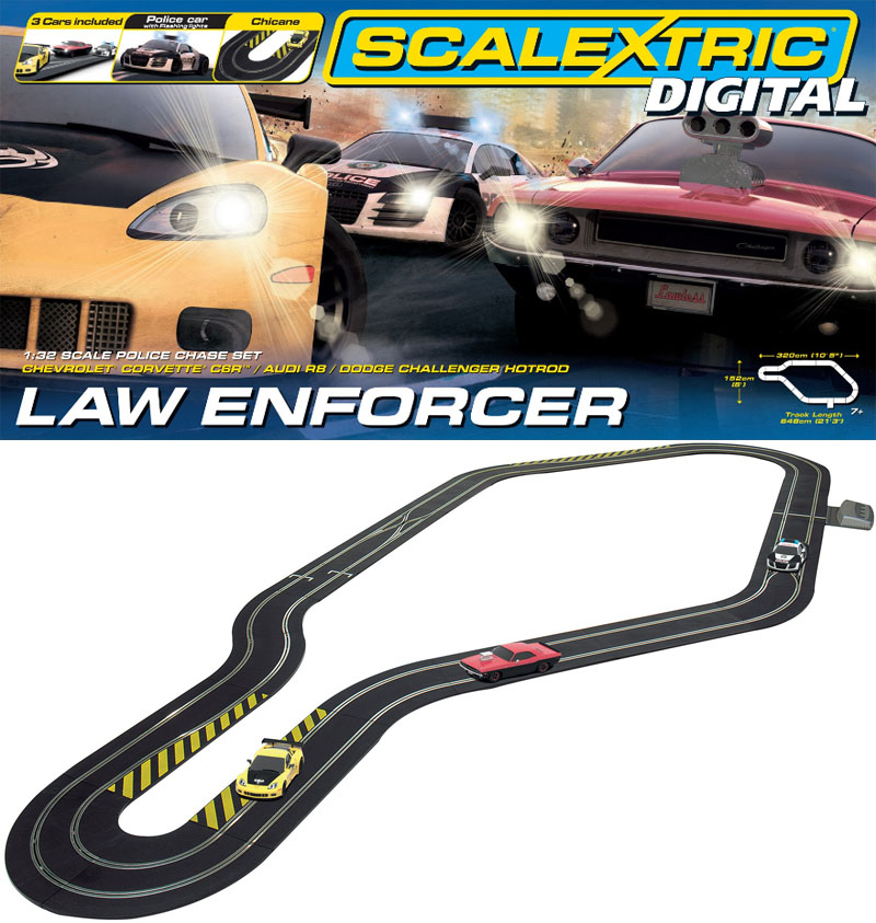 Scalextric 1/32 Digital Law Enforcer Slot Car Set C1310