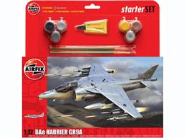 Airfix 1/72 Bae Harrier GR9 Gift Set A55300Flown by the Joint Force Harrier Squadrons crewed by both Royal Navy and RAF crews, this ultimate Harrier carries a vast array of weapons, communications and systems to carry offensive operations to the enemy both from land and sea.