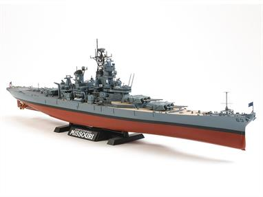 This Tamiya 78029  1/350th scale plastic model kit faithfully depicts the Missouri as she appeared in 1991. New parts have been tooled to update the kit.