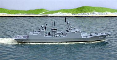 A 1/1250 scale metal model of a KDX II-class stealth destroyer of the South Korean navy (ROKS). The model carries the pennant number of the first of the class to enter service, Chungmugong Yi Sun-sin. 6 ships are now in service and a batch 2 version is planned.