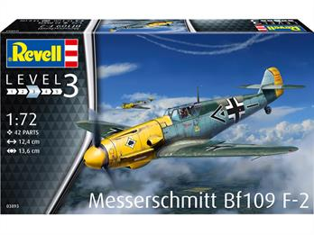 Revell 03893 1/72 Scale Messerschmitt BF109 F-2 WW2 FighterNumber of Parts 42    Length 124mm    Width 136mm