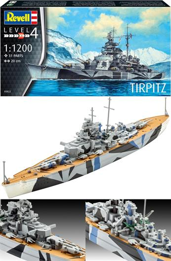 Revell 1/1200 Tirpitz German WW2 Battleship 05822 The last battleship of the German Navy!Length 200mmWaterline kit of just 31 parts that can turn out a nicely detailed model.Glue and paints are required