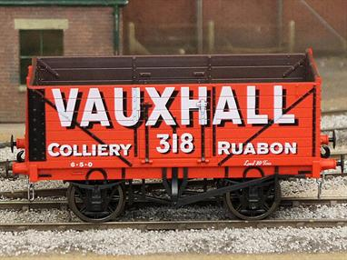 Model of a RCH 1923 type 7 plank open wagon finished as Vauxhall Colliery, Ruabon wagon 318