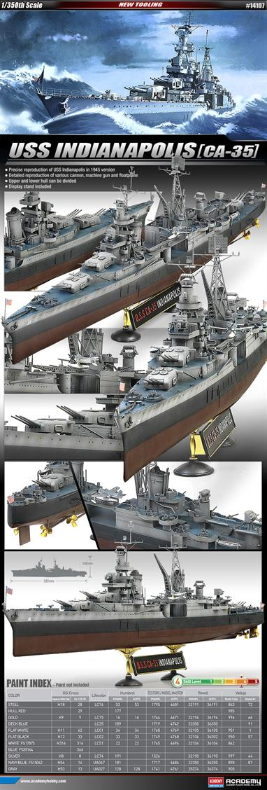 Academy 1/350 USS Indianapolis WW2 Cruiser CA-35 1945 Plastic Kit 14107Glue and paints are required to complete the model (not included)