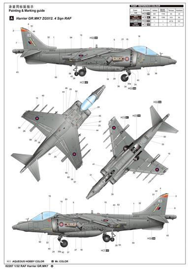 Trumpeter 02287 1/32 Scale RAF GR7 Harrier VTOL AircraftGlue and paints are required