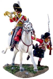 "W Britain ""Forward Gordon's"" A Scots Grey Bugler and a Gordon Highlander advanceThe Royal Scots Greys was a cavalry regiment of the British Army from 1707. The regiment's history began in 1678, when three independent troops of Scots Dragoons were raised. In 1681, these troops were regimented to form The Royal Regiment of Scots Dragoons, numbered the 4th Dragoons in 1694.The Gordon Highlanders was a line infantry regiment of the British Army that existed for 113 years, from 1881 until 1994.3 Piece SetLimited Edition of 6001/30 ScaleMatt Finish"