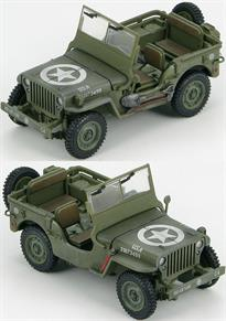 "Hobby Master 1/48 US Willys Jeep 101st Airborne iv., 506th A.B. Regiment, Company `C`, Normandy, 6 June 1944 HG1601<br />Bantam Car Company won the initial contract to provide a light motor vehicle. In 1941 the Military wanted to standardize so one manufacturer was selected, Willys-Overland mostly because of its ""Go Devil"" engine the troops raved about. The Willys Jeep had a designation of MB, M (Military) B (second vehicle design). Eventually Willys couldn't keep up so Ford was contracted to produce an almost identical vehicle, the GPW. During World War II there was a total of 647,870 Jeeps produced by three manufacturers; Willys- Overland produced 362,841 of them. Approximately 51,000 were exported to the USSR."