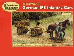 Valiant 1/72 German IF8 Infantry Cart WW2 Plastic Kit VM005The IF8 (or infanteriefahrzeug ausf 8) was the most common German platoon supply/weapons cart in World War II. Interchangeable tow bars enabled it to be moved by a single horse, hand pulled or towed by a light vehicle such as a Kettenkrad, motorcycle combination or Kübelwagen. It was often used in tandem as pictured on this box. This kit includes all towing options and typical 'loads' of a MG42 anti-aircraft machine gun and a frame for carrying four Panzerschreck anti-tank rocket launchers. Jerry cans and ammunition boxes are also provided