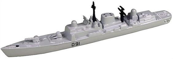 "The Type 42 destroyers were designed principally to provide air defence for a task force, replacing the County Class destroyers, which were becoming increasingly expensive to operate, but they are also utilised to engage surface and anti-submarine targets. All the ships were named after large British cities, commemorating many of the Town Class cruisers that fought with such distinction in the Second World War. The ships are armed with the British Aerospace Sea Dart surface-to-air missile system, for defence against both aircraft and missiles, as well as being equipped with a Vickers 4.5 inch gun and anti-submarine torpedo tubes. In addition, as a result of experience in the Falklands War, the ships are also fitted with 20 mm Phalanx CIWS and chaff decoys for close range defence. Each ship carries a Lynx helicopter, which extends the range of the ships radar systems, and, armed with the Sea Skua missile, is also the ship's principle anti-submarine weapon. The Type 42 destroyers are fitted with controllable pitch propellers and are powered by two Rolls-Royce Tyne Engines, which provide a cruising speed of 18 knots. In addition they are equipped with two Rolls-Royce Olympus engines, which allow the ship to ""sprint"" at up to 29 knots for short periods."