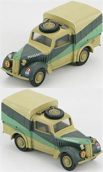 "Hobby Master British Light Utility Car ""Tilly"", North Africa<p>1/48 Scale</p><p>Early in WWII the need for a small utility vehicle became apparent. To expedite the manufacturing process some civilian car designs were modified. These small utility vehicles were usually referred to as ""tilly"", a play on the word utility. There were 4 major producers of these vehicles, Austin, Hillman, Standard and Morris. Manufacturers kept some of their distinctive physical features such as hoods (bonnets) and grilles. The ""tilly"" was well suited for the multitude of tasks it was assigned and became an iconic WWII British vehicle.</p>"