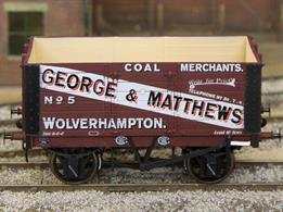 A new detailed model of a 7 plank open wagon following the RCH 1887 specifications and modelled from the production of the Gloucester Railway Carriage and Wagon Company. Finished as George Matthews of Wolverhampton wagon number 5.This new design adds to the range and specification of O gauge ready to run wagons, featuring a diecast chassis for added weight and compensation beams for smooth running.British Manufacturing. Dapol plan to be producing these models from their factory unit in Chirk.