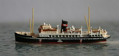 A 1/1250 scale limited edition model of MS Frem in Neutrality markings in 1939 by Albatros SM AL283SThis model is a limited edition of the Danish ferry Frem in 1939 after WW2 broke out. Antics expect that the model will be released without the name, country and flag markings at a later date. A post-war version of the vessel is already available, see Dania.
