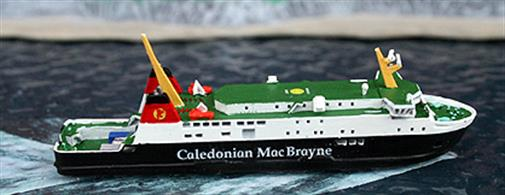 A 1/1250 scale metal waterline model of the modern Calmac ferry, Finlaggan. Take a trip to Isla and sample the water of life...